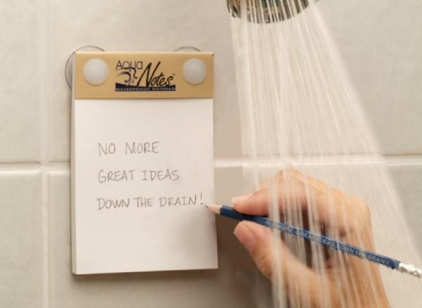 Notitieblokje onder de douche