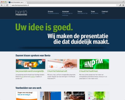 screenshot website Bentopresentaties.nl v2 (juli 2011 – september 2014)