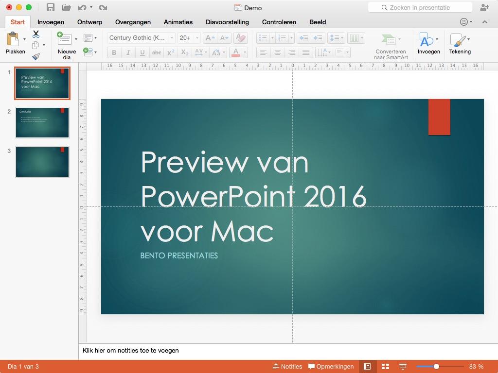 Screenshot van demo-versie van PowerPoint 2016 voor Mac