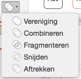 Vormen combineren in PowerPoint 2016 voor Mac