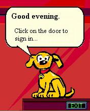 Rover, de hond van Microsoft Bob met tekstballonnen in Times New Roman
