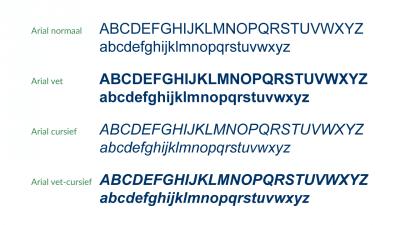 Voorbeeld van typefaces in het Arial lettertype