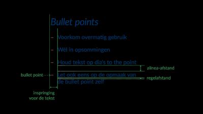 Uitleg van de onderdelen bij bullet points