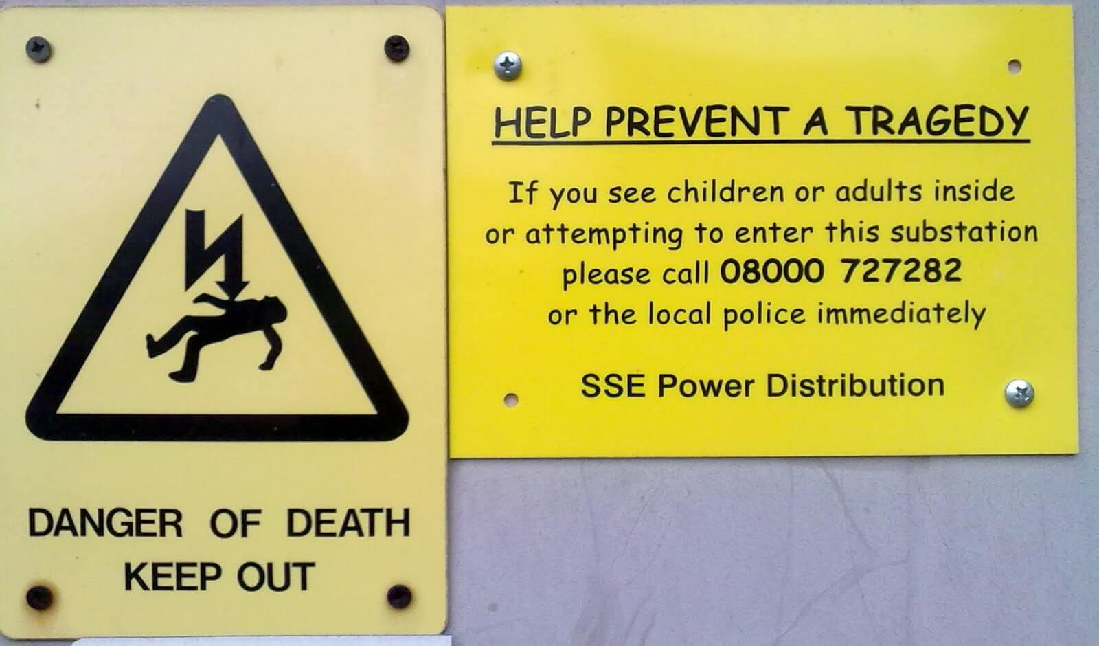 Comic Sans in een waarschuwing