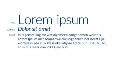 Voorbeeld waarbij duidelijk contrast in lettertype bestaat tussen titel, subkop en tekst