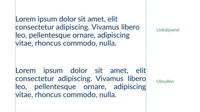 Voorbeeld van links uitlijnen en uitvullen van tekst