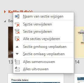 Screenshot met menu met opties voor secties in PowerPoint