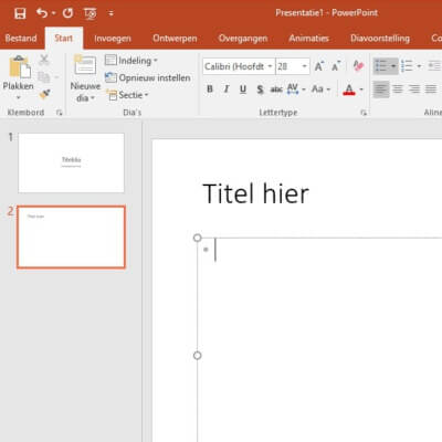 Standaard-dia in PowerPoint is meestal op basis van bullet points