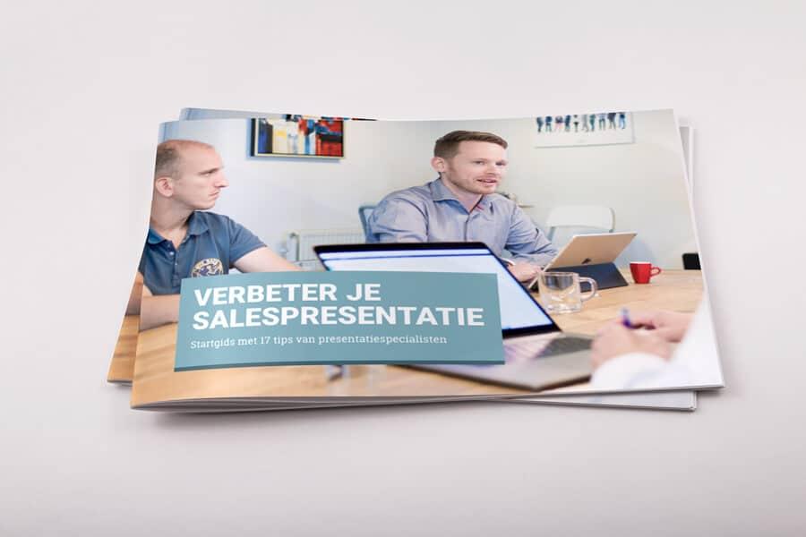 Stapel startgidsen met verbetertips salespresentaties